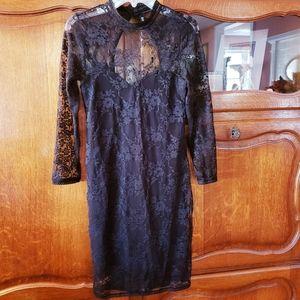 Sheer Black Lace Long Sleeved Dress w/ Open Back